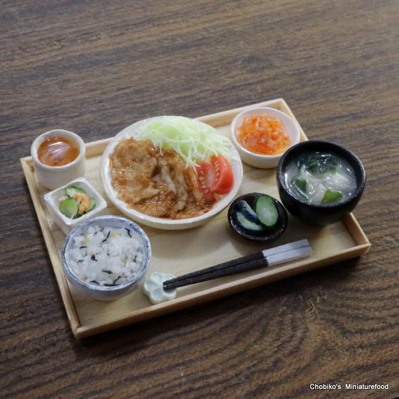 ちょび子★ミニチュア豚肉の生姜焼き定食_画像4