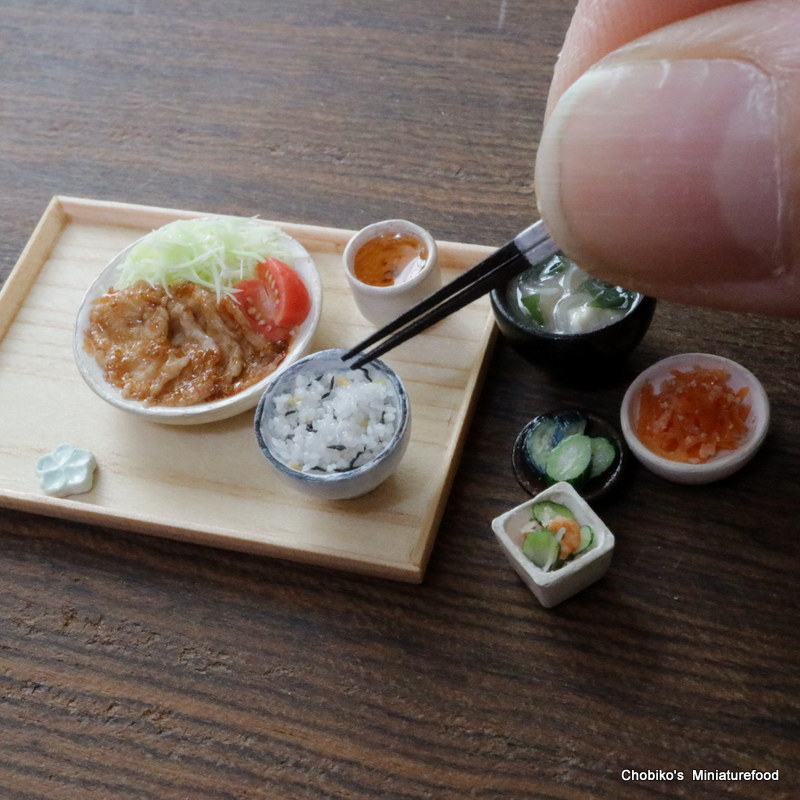 ちょび子★ミニチュア豚肉の生姜焼き定食_画像7