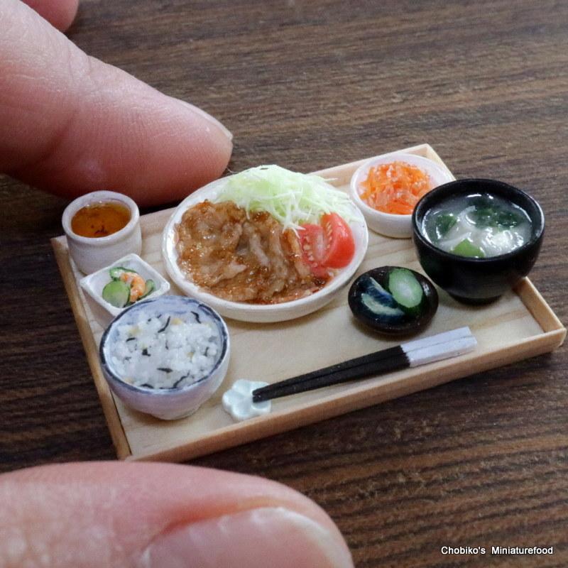 ちょび子★ミニチュア豚肉の生姜焼き定食_画像8