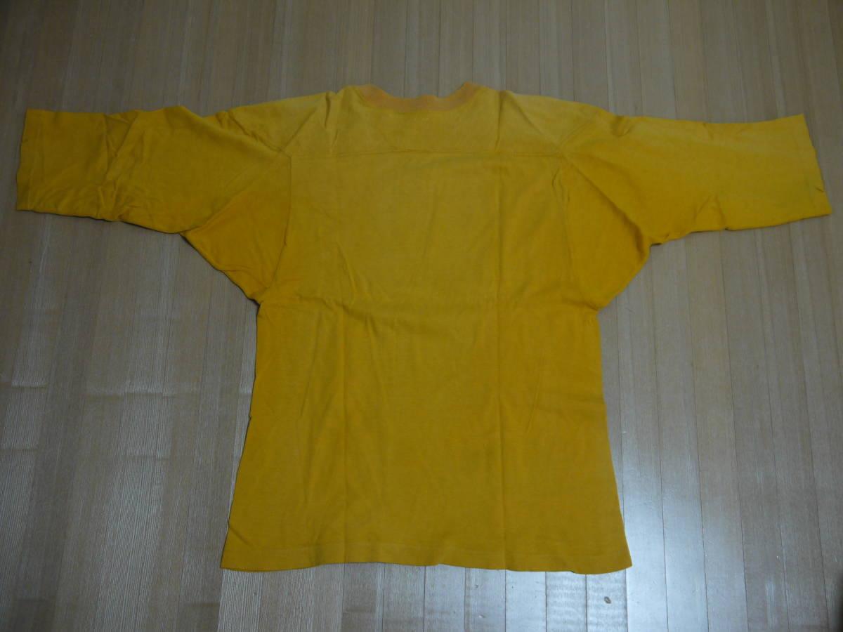 送料込即決ビンテージチャンピオン7分袖フットボールTシャツ60年代単色タグM/ランタグフットボールバータグナンバリングカレッジusmausafa_画像6