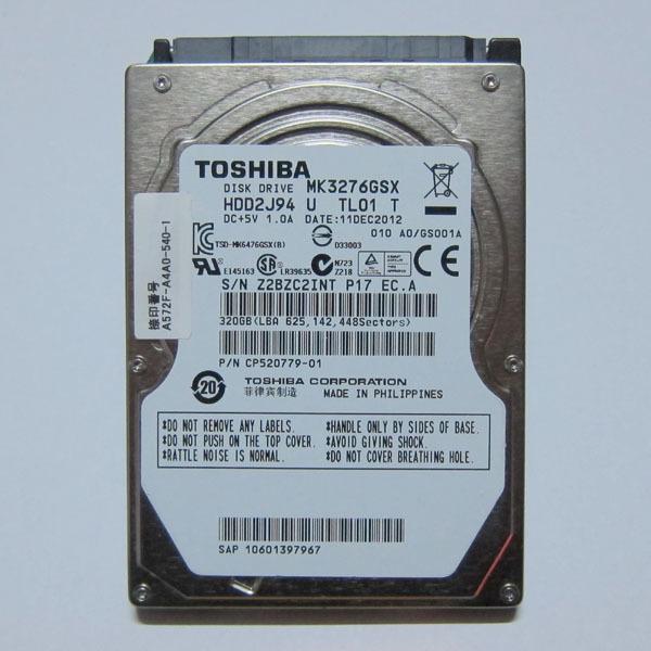 534] TOSHIBA SATA 320GB 5400rpm 9 5mm: Real Yahoo auction