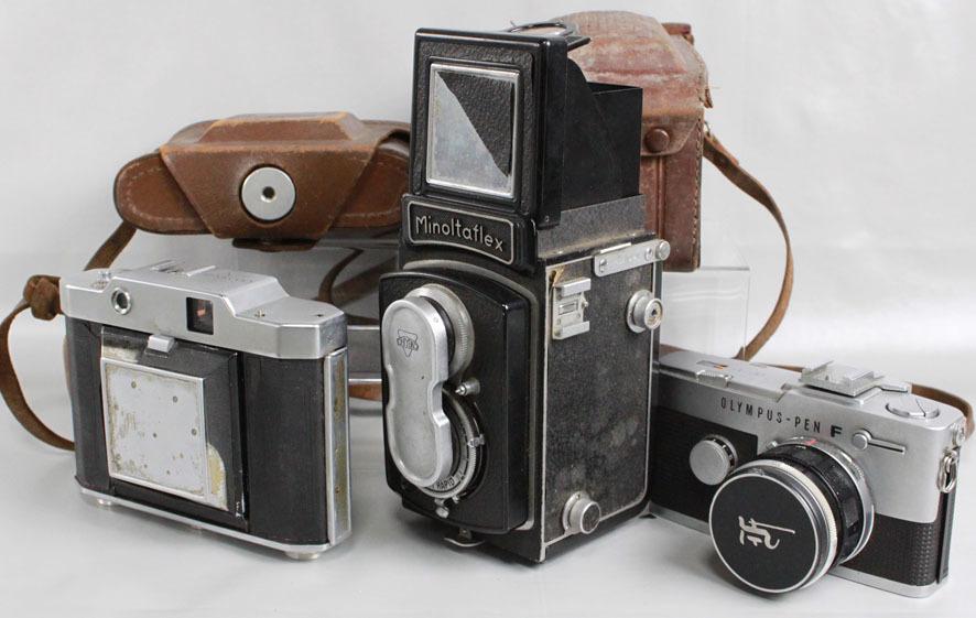 【レトロカメラ ジャンク品】 OLYMPUS PEN-F 38mm付/蛇腹カメラ OLYMPUS SIX/二眼レフ Minolta flex クラシックカメラまとめて_画像6