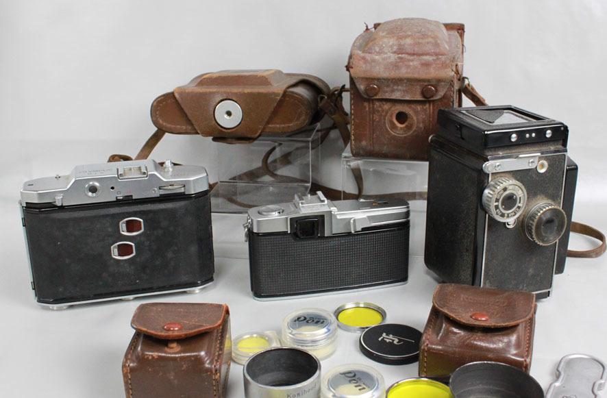 【レトロカメラ ジャンク品】 OLYMPUS PEN-F 38mm付/蛇腹カメラ OLYMPUS SIX/二眼レフ Minolta flex クラシックカメラまとめて_画像4