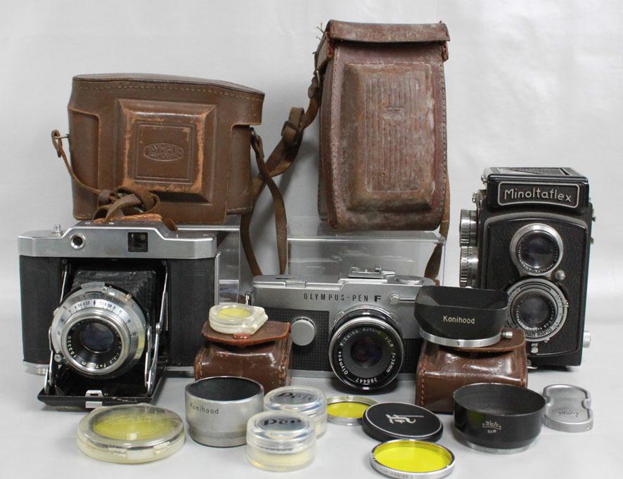 【レトロカメラ ジャンク品】 OLYMPUS PEN-F 38mm付/蛇腹カメラ OLYMPUS SIX/二眼レフ Minolta flex クラシックカメラまとめて_画像2