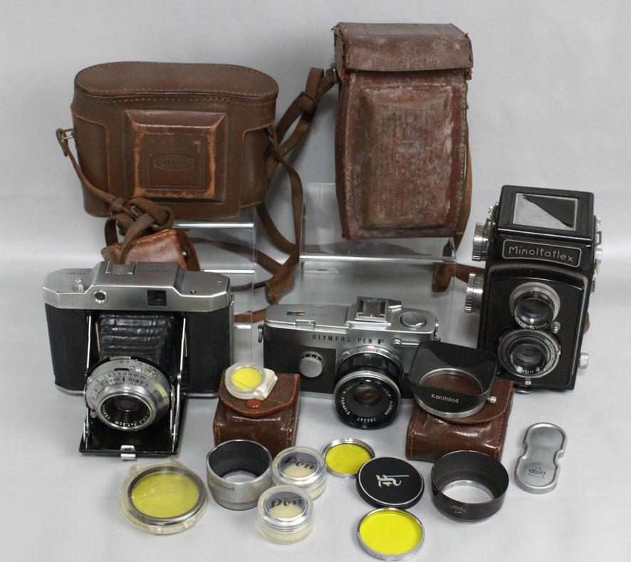 【レトロカメラ ジャンク品】 OLYMPUS PEN-F 38mm付/蛇腹カメラ OLYMPUS SIX/二眼レフ Minolta flex クラシックカメラまとめて