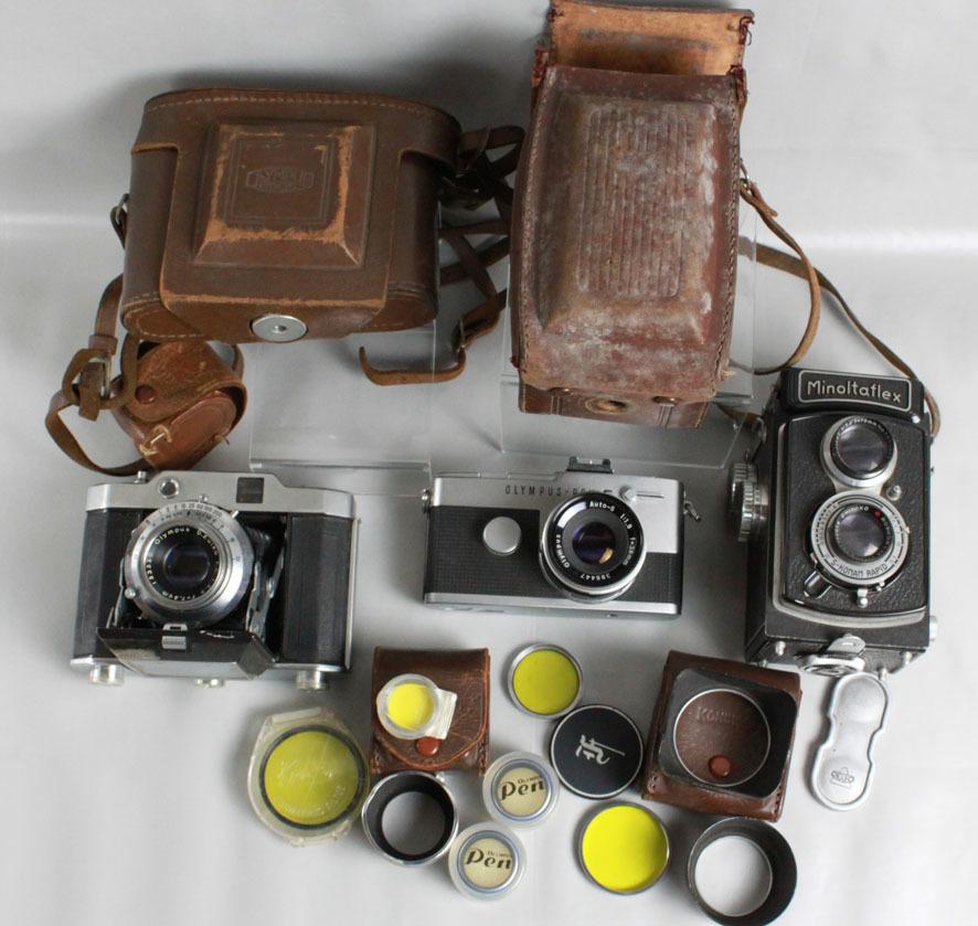 【レトロカメラ ジャンク品】 OLYMPUS PEN-F 38mm付/蛇腹カメラ OLYMPUS SIX/二眼レフ Minolta flex クラシックカメラまとめて_画像3