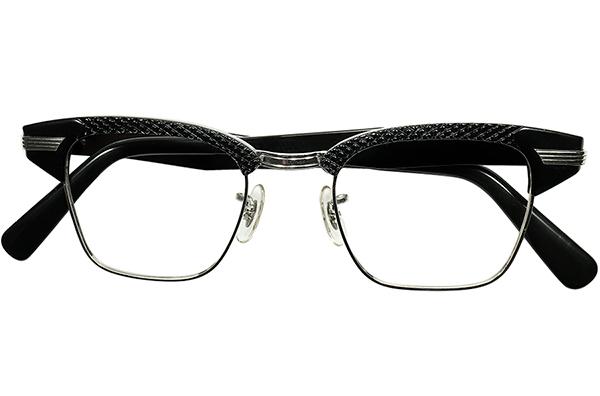 黒好きMUST SEE ドス黒アングラRUDEテイスト 1960sデッド USA製 SRO 1/10 12KGF 本金張xBLACKパイソン ALUMブロータイプ 眼鏡 size 46/22 _画像2