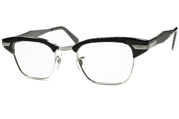 黒好きMUST SEE ドス黒アングラRUDEテイスト 1960sデッド USA製 SRO 1/10 12KGF 本金張xBLACKパイソン ALUMブロータイプ 眼鏡 size 46/22 _画像1