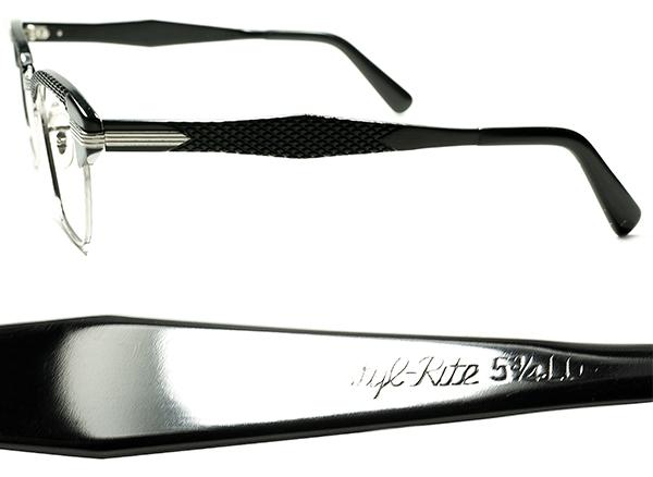 黒好きMUST SEE ドス黒アングラRUDEテイスト 1960sデッド USA製 SRO 1/10 12KGF 本金張xBLACKパイソン ALUMブロータイプ 眼鏡 size 46/22 _画像3