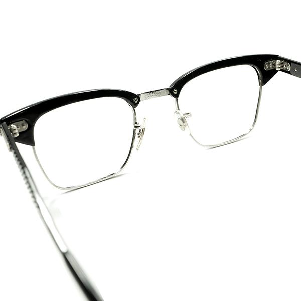黒好きMUST SEE ドス黒アングラRUDEテイスト 1960sデッド USA製 SRO 1/10 12KGF 本金張xBLACKパイソン ALUMブロータイプ 眼鏡 size 46/22 _画像4