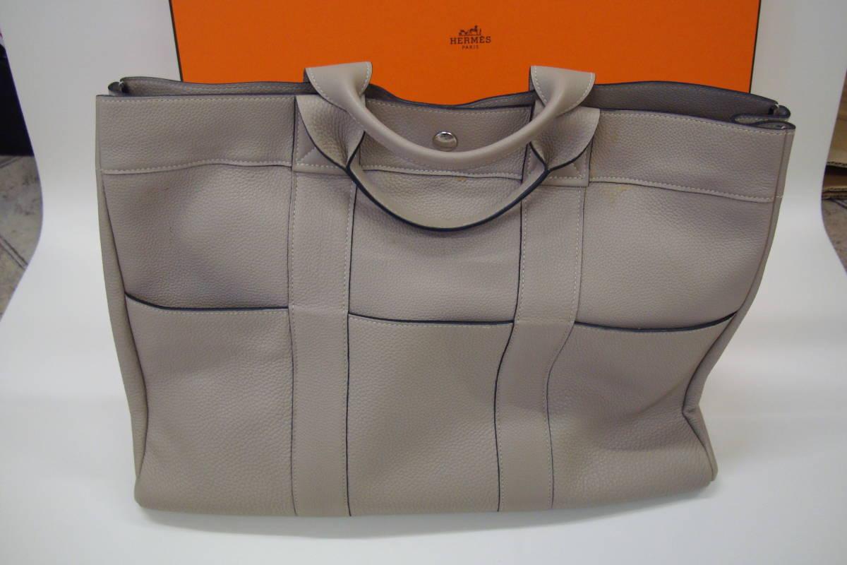 51b41901ab70 HERMESエルメス フールトゥMM オールレザー トゴ シルバー金具 鞄 トートバッグ ハンドバッグ トゥルティールグレー