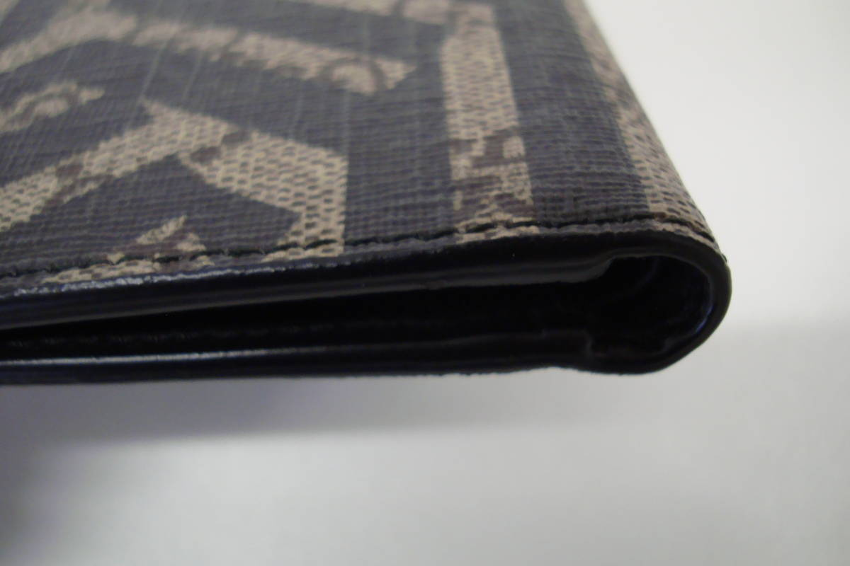 新品 未使用 GUCCIグッチ ジオメトリックカレイドプリント GGスプリーム 小銭入れなし 二つ折り財布 ウォレット ベージュ×ブラック_画像6