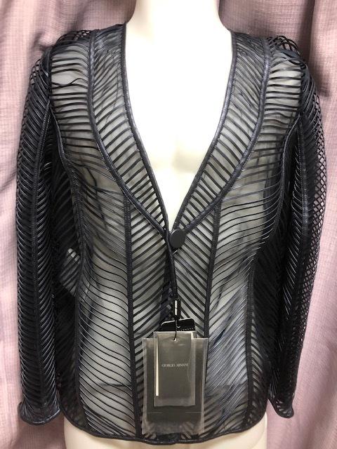 未使用!Fashion業界最高峰!最も権威GIORGIO ARMANI最高級オートクチュール上質レザー&オーガンジー素材ジャケット参考小売価格105万円!_最高級オートクチュールLeather&オーガンジ