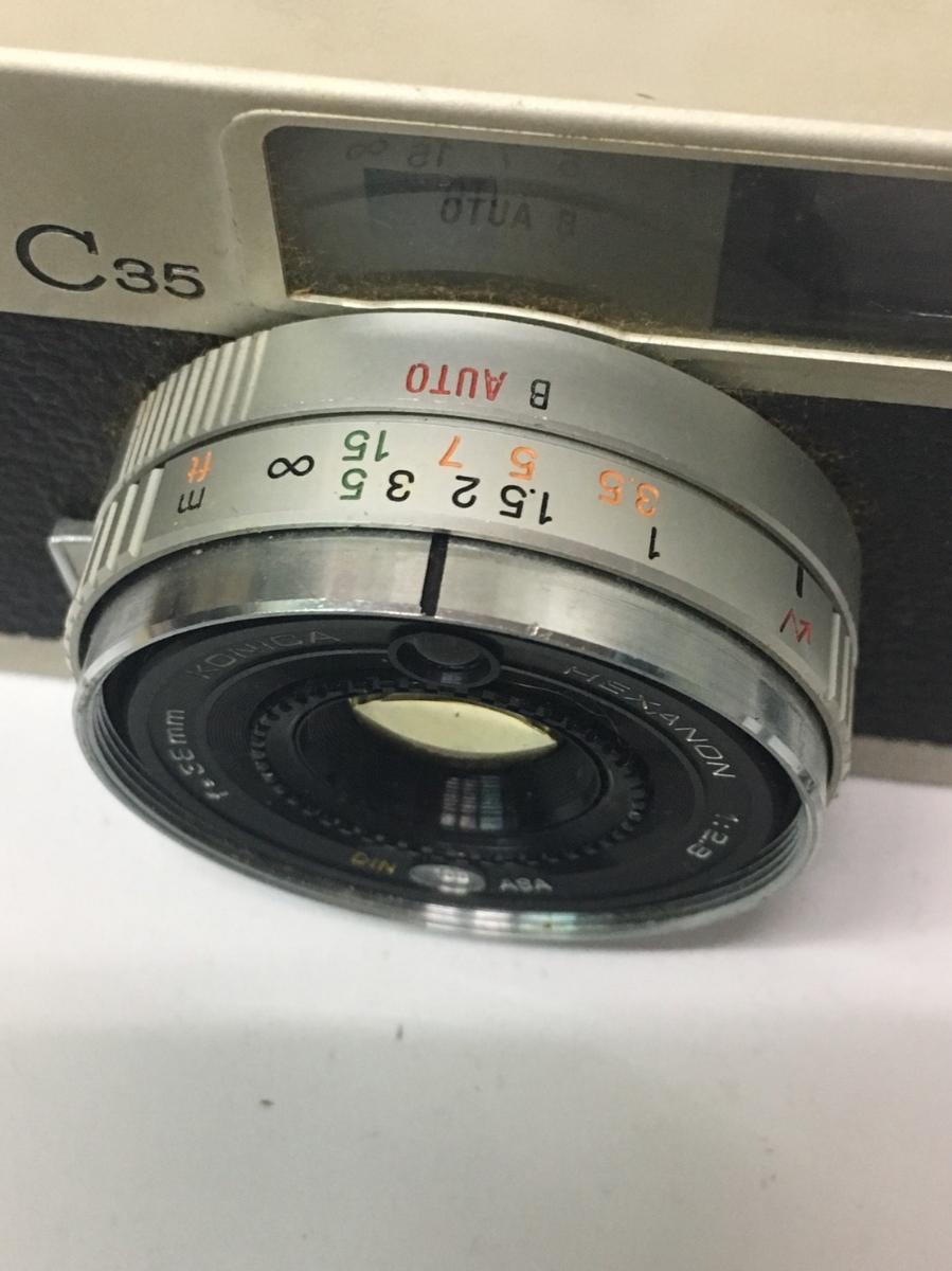 コニカ KONICA C35 フィルム カメラ レンジファインダー HEXANON f=38mm 1:2.8 コンパクト レトロ コレクション 動作未確認のためジャンク_画像6