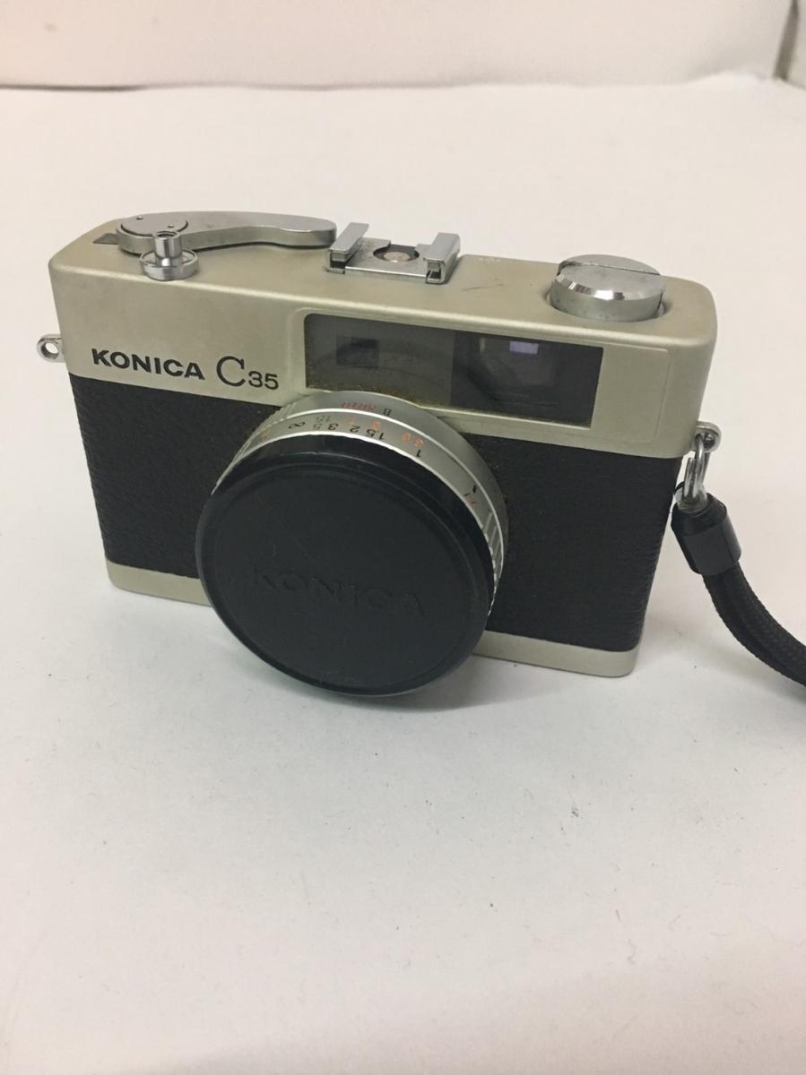 コニカ KONICA C35 フィルム カメラ レンジファインダー HEXANON f=38mm 1:2.8 コンパクト レトロ コレクション 動作未確認のためジャンク_画像1