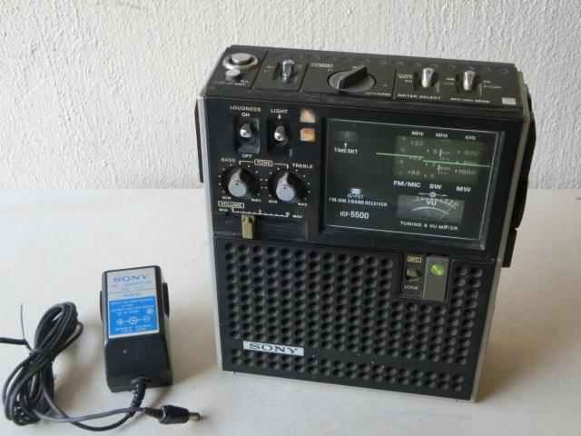 SONYソニー 3バンド スカイセンサー ラジオ ICF-5500 ACアダプター付(AC-110) ジャンク