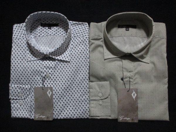 新品 2枚セット M★雑誌掲載 大人 紳士 ブランド G-STAGE メンズ 長袖 デザインシャツ Yシャツ ホワイト/白/オリーブ/ベージュ 系 BD-M-1_画像1