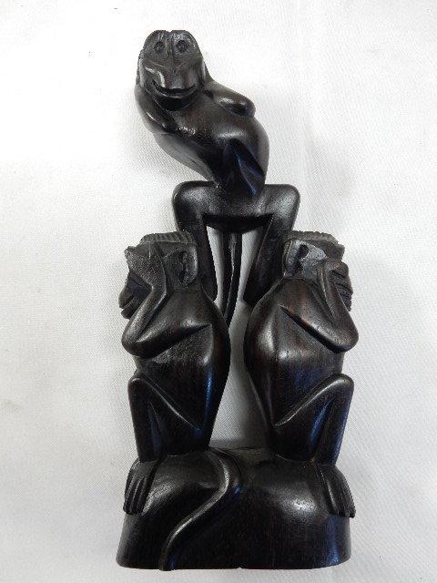 アジアンオブジェ 木製ハンドメイド 手彫り彫刻 3WISE MONKYS 見ざる 言わざる 聞かざる UR_画像1
