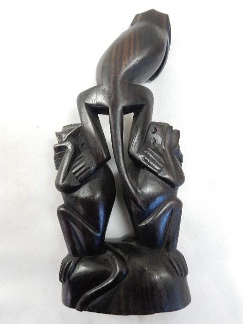 アジアンオブジェ 木製ハンドメイド 手彫り彫刻 3WISE MONKYS 見ざる 言わざる 聞かざる UR_画像6