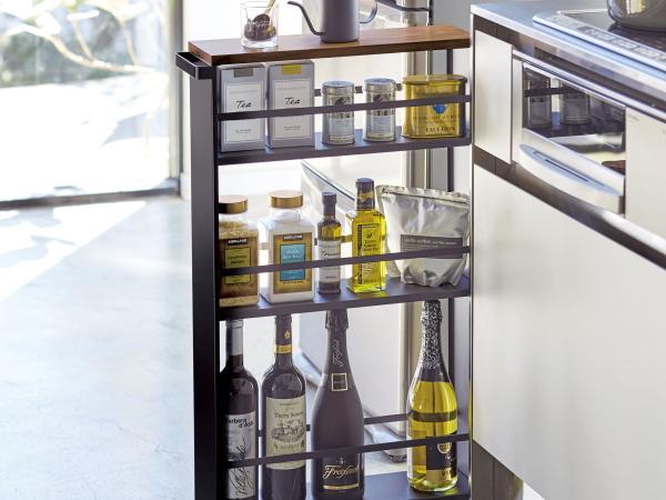 送料無料 完成品 キッチン収納ラック 隙間ラック 調味料棚 キャスター付き スリムワゴン 黒 流し台と冷蔵庫の間の収納に スチールシェルフ_画像1