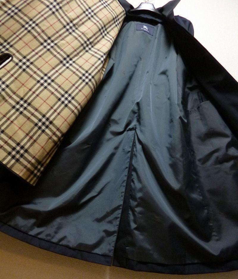 35万! 超優雅! ☆BURBERRY☆バーバリー 最高級羊毛&絹カシミヤライナー付きコート! 圧倒的豪華さ! 超高級! 超優美! 新同極美品! 送料無料!