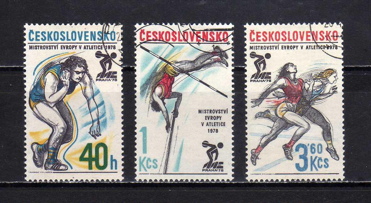 191146 チェコスロヴァキア 1978年 陸上競技欧州選手権大会 3種完揃 使用済_画像1