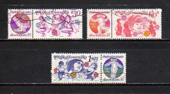 191169 チェコスロヴァキア 1975年 国民体育大会 タブ付き 3種完揃 使用済_画像1