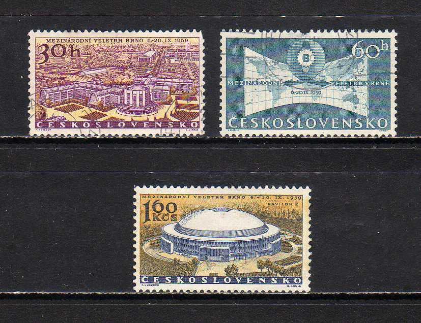 191220 チェコスロヴァキア 1959年 ブリュン国際見本市 3種完揃 使用済_画像1