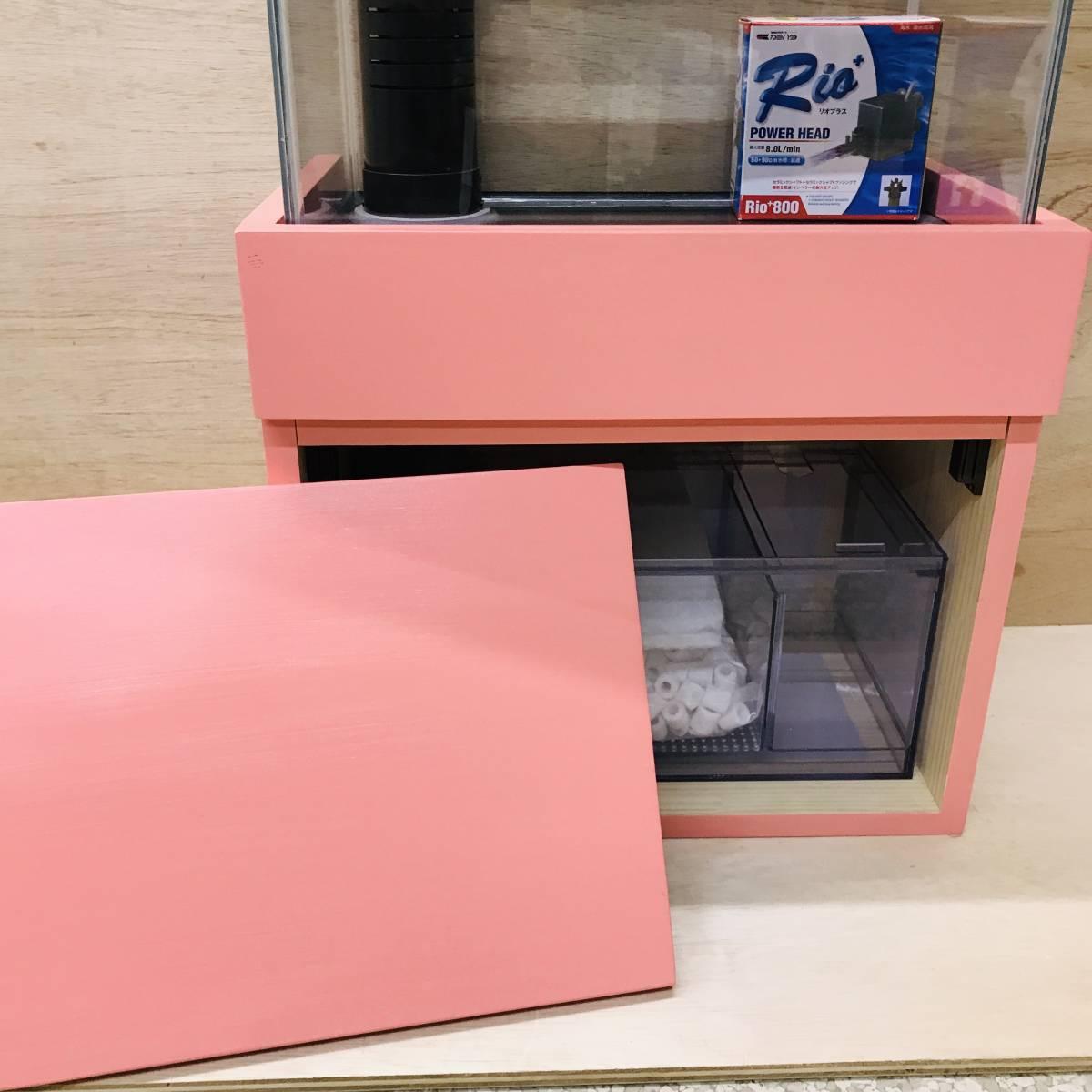 《100円スタート》アクア小型オーバーフロー水槽セット ピンク 新品 rio800 濾過槽、台ろ材セット 小型水槽/アクア/海水魚 ピンク_画像4