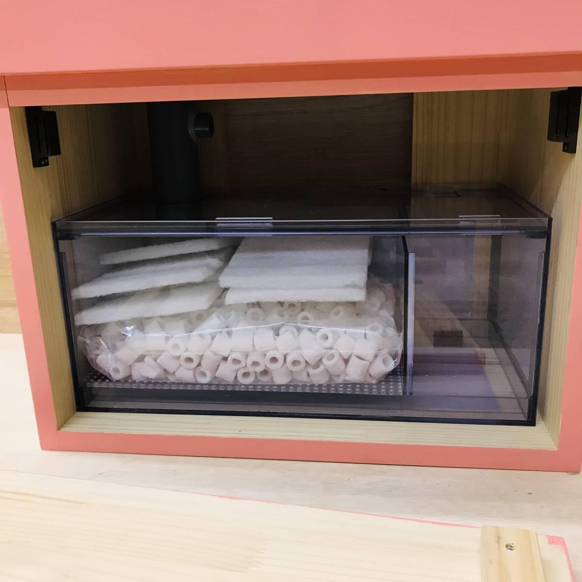 《100円スタート》アクア小型オーバーフロー水槽セット ピンク 新品 rio800 濾過槽、台ろ材セット 小型水槽/アクア/海水魚 ピンク_画像5