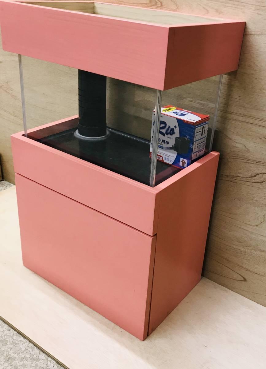 《100円スタート》アクア小型オーバーフロー水槽セット ピンク 新品 rio800 濾過槽、台ろ材セット 小型水槽/アクア/海水魚 ピンク_画像3