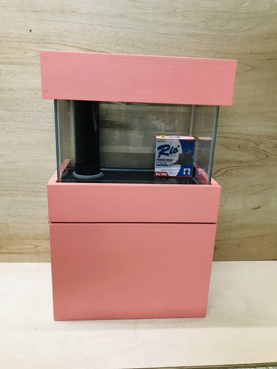 《100円スタート》アクア小型オーバーフロー水槽セット ピンク 新品 rio800 濾過槽、台ろ材セット 小型水槽/アクア/海水魚 ピンク