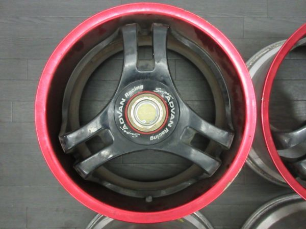 ジャンク品 未洗浄 ヨコハマ スーパーアドバン SA3R 17インチ 8J +35 9J +42 PCD 114.3 5穴 1台分 当時物 ドリ車_画像2