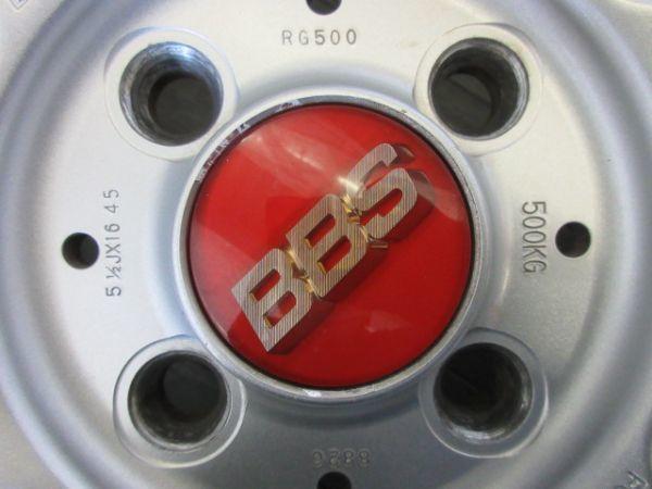 中古ホイール BBS RG500 16インチ 5.5J +45 PCD 100 4穴 1台分 軽 軽自動車 インチアップ 鍛造 FORGED_キャップ周りの塗装剥離 4枚ともあり