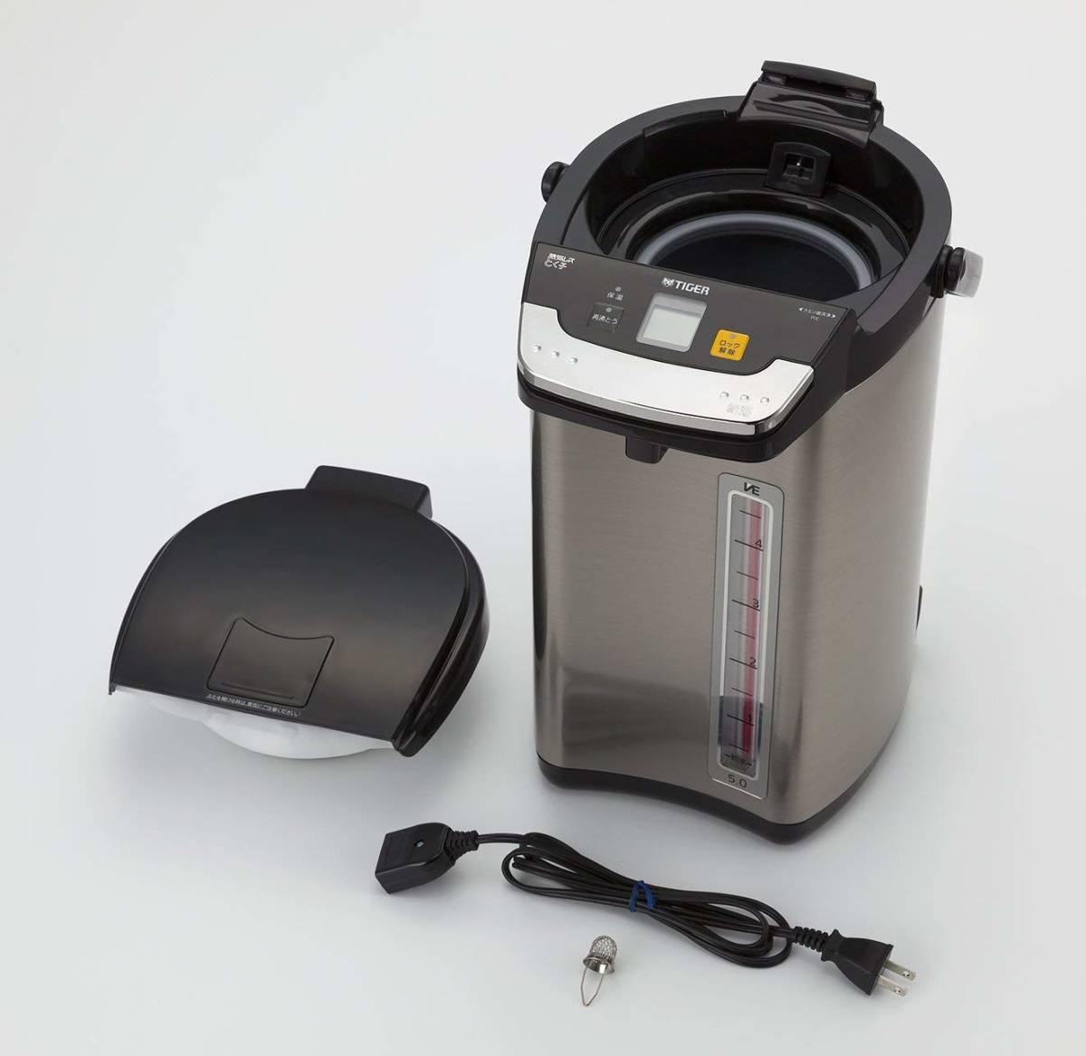 タイガー 魔法瓶 電気 ポット 5L ブラック 蒸気レス 節電 VE 保温 とく子さん PIE-A500-K Tiger_画像3