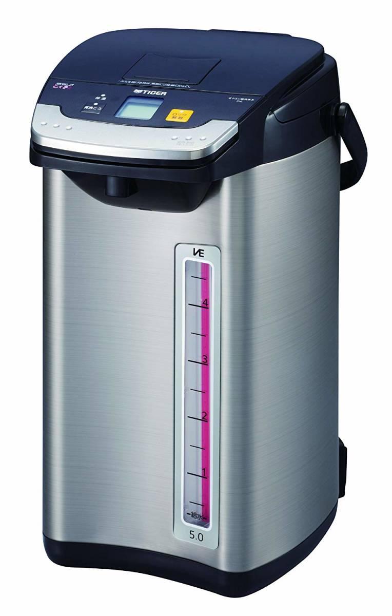 タイガー 魔法瓶 電気 ポット 5L ブラック 蒸気レス 節電 VE 保温 とく子さん PIE-A500-K Tiger_画像2