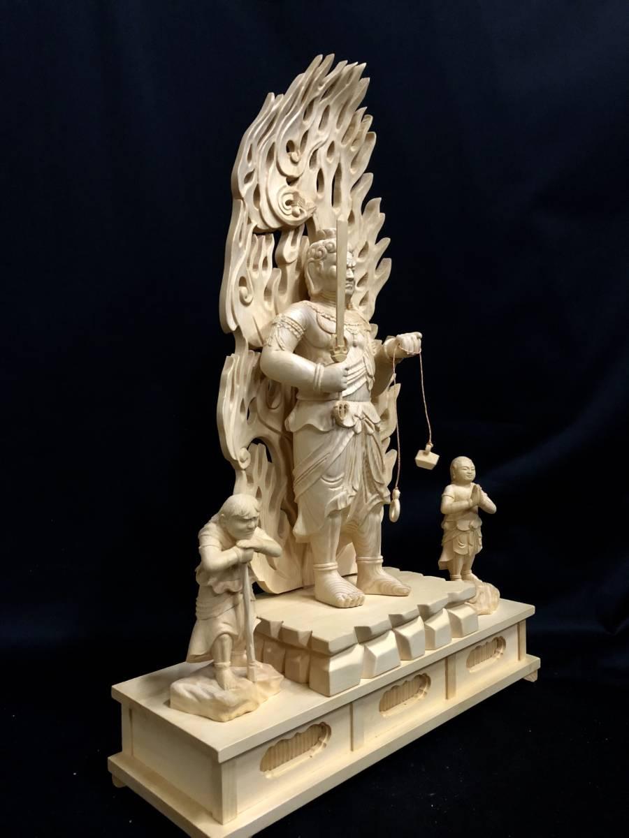 大型高59cm 新作 総檜材製 名人作 極上彫 木彫作品 仏教美術 不動明王三尊立像_画像6