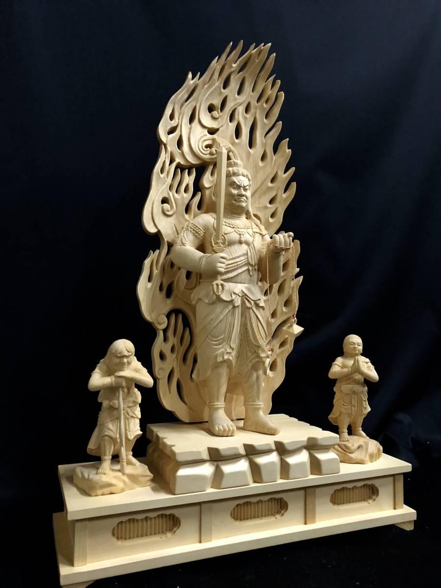 大型高59cm 新作 総檜材製 名人作 極上彫 木彫作品 仏教美術 不動明王三尊立像_画像5