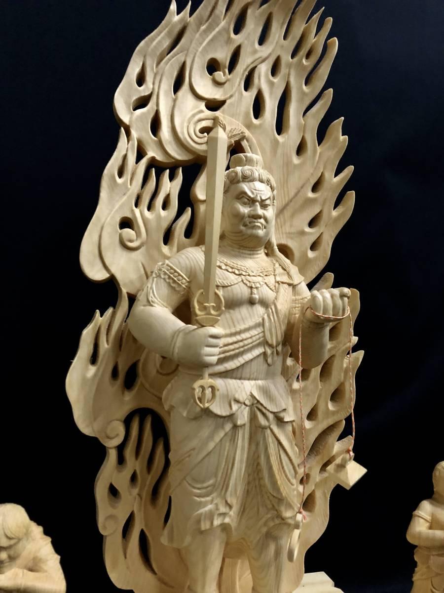 大型高59cm 新作 総檜材製 名人作 極上彫 木彫作品 仏教美術 不動明王三尊立像_画像7