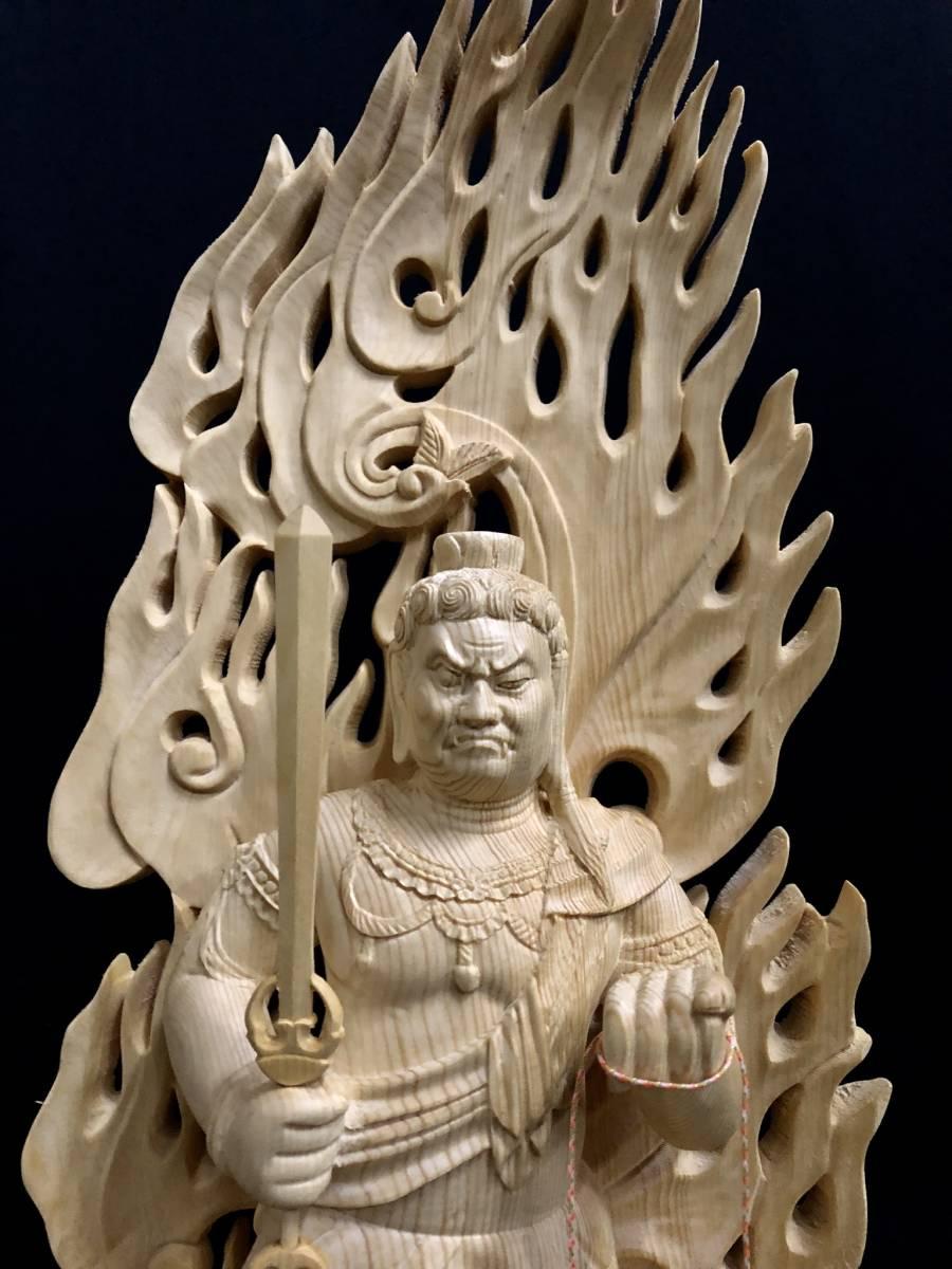 大型高59cm 新作 総檜材製 名人作 極上彫 木彫作品 仏教美術 不動明王三尊立像_画像9