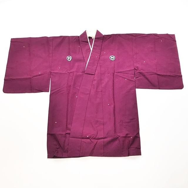 送料無料【着物】半着/短着/袴下着物/三つ紋/紫色_画像1