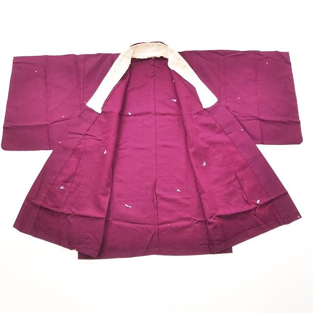 送料無料【着物】半着/短着/袴下着物/三つ紋/紫色_画像4