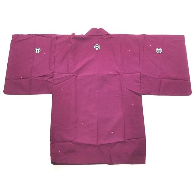 送料無料【着物】半着/短着/袴下着物/三つ紋/紫色_画像6