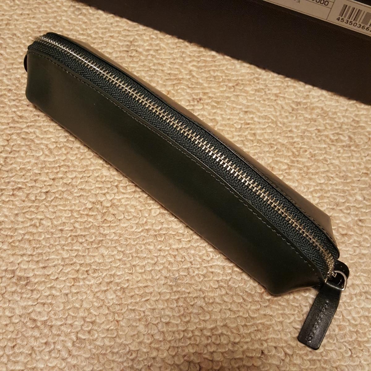 Ashford アシュフォード アルフ ペンケース グリーン 緑 筆箱 レザー ボールペン 万年筆 付属品完_画像2
