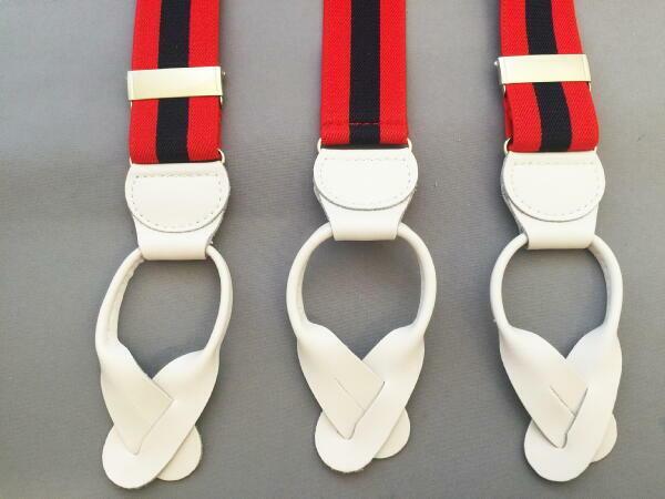 サスペンダー メンズ 紳士 英国直送 Brace ブレイス 6ボタン止め Y型 Yバック 伸縮素材 AZ Red/Navy/Stripe/White B409_b409