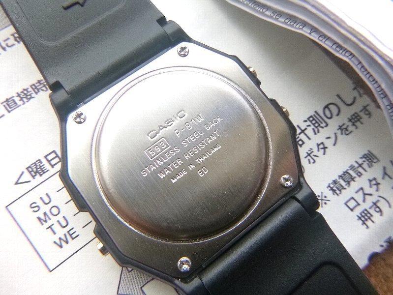 【値下げ価格:最終】限定1個 カスタムモデル 逆輸入 CASIO F-91WG-9 液晶反転 反転液晶 ブラック&ゴールド 黒文字盤 未使用 入手困難_画像3