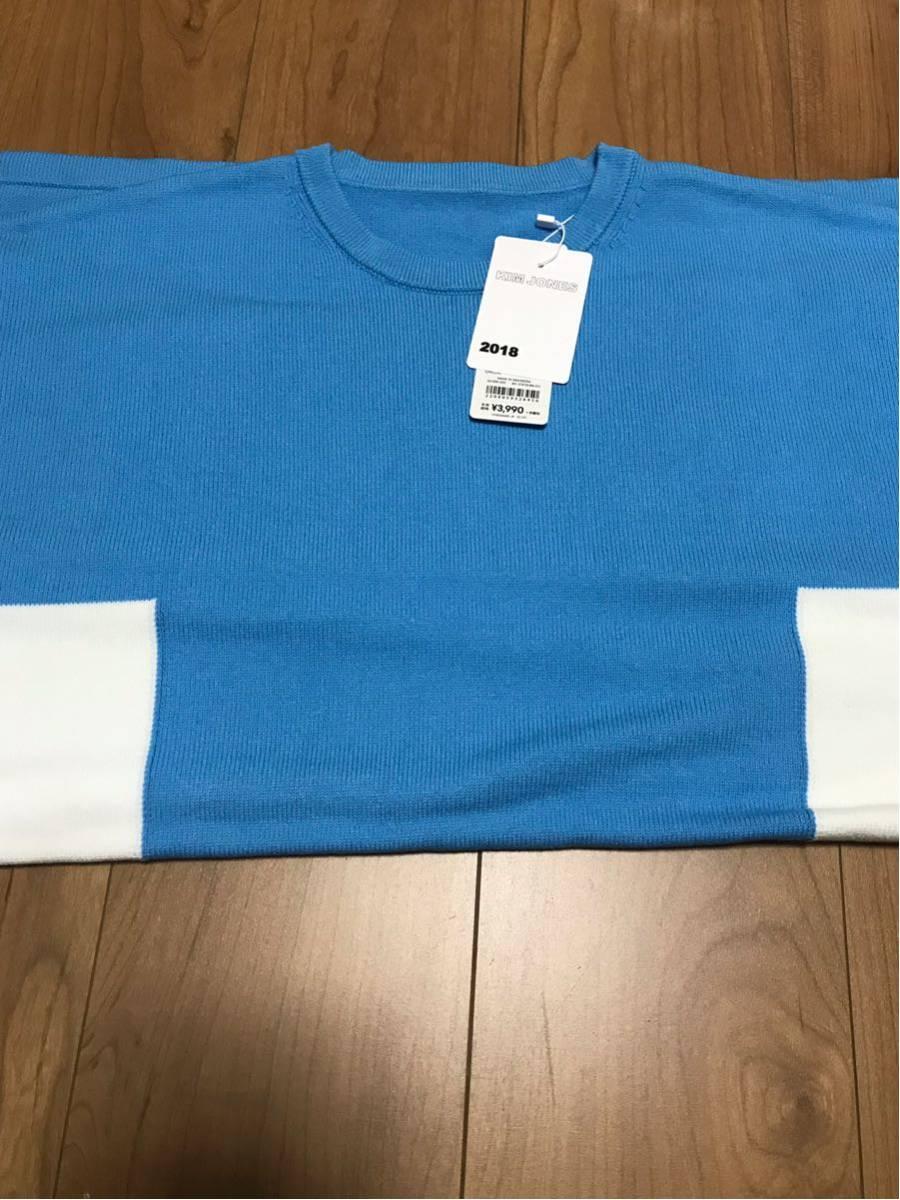 新品未使用 青×白M GU×KIM JONES カラーブロックタートルセーター(KJ) KJ ブルー×ホワイト ジーユー×キム・ジョーンズ 元ヴィトン_画像7