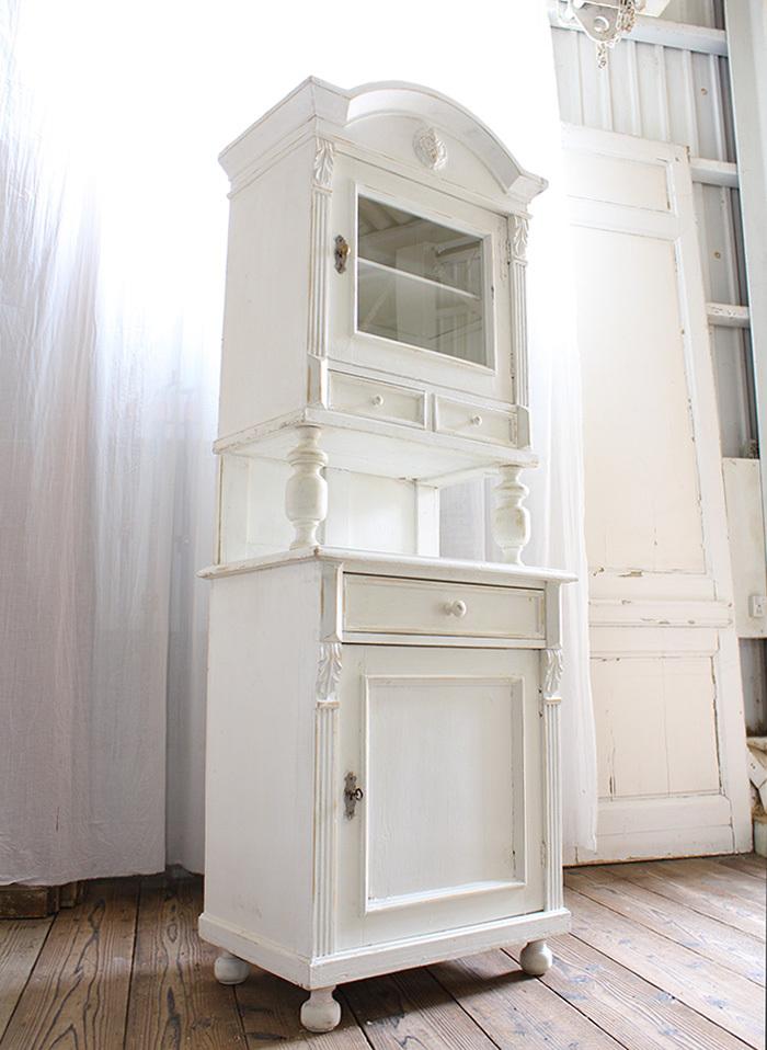 インテリア フランスアンティーク ホワイトペイントカップボード 希少 食器棚 収納家具