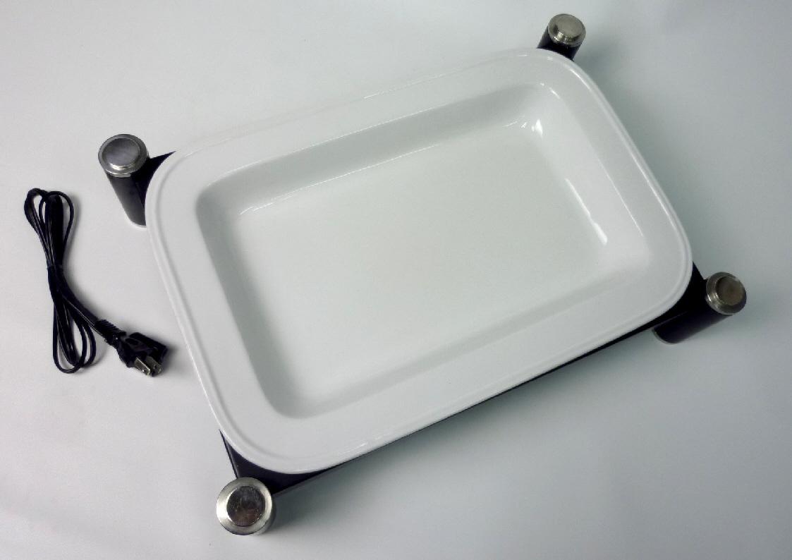バイキング:電気ビュッフェウォーマー・スタンド・角陶器皿セット◆単相100V/100W ~90℃★良品_画像1