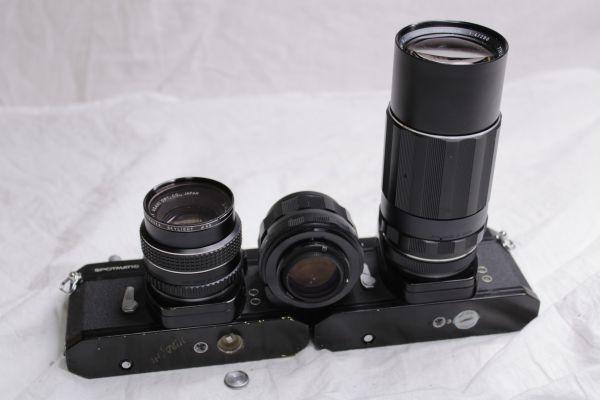 ジャンク PENTAX ASAHI SPOTMATIC SP 一眼レフカメラ2台 レンズ3本 黒 SMC Takumar 1:1.8/55 Super-Multi-Coated 1:4/200 TAKUMAR 1:1.4/50_画像7